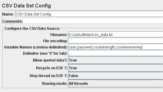 CSV Data Set Config fields